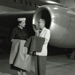 Dorothy Draper, with a Convair executive, working on the design for their airplane interiors on behalf on Howard Hughes